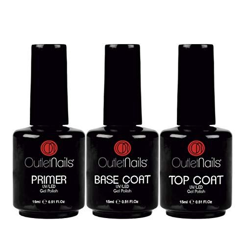 Pack Esmaltes Semipermanentes | Base + Brillo + Primer para Esmalte Semipermanente | Gran Formato 15ml cada uno | Outlet Nails
