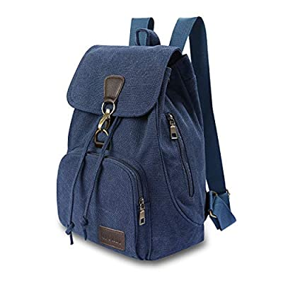 Qyoubi Womens Canvas Fashion Backpacks Purse Casual Outdoor Shopping Daypacks Hiking Travel Multipurpose Bag Navy Blue