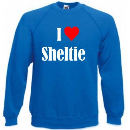 Reifen-Markt Sudadera con texto 'I Love Sheltie' para mujer, hombre y niños en los colores negro, blanco y azul con estampado azul XL