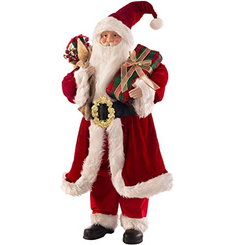 WeRChristmas Large Standing Santa Claus Christmas Decoration, Red, 3 ft/91 cm