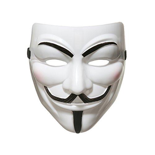 AKORD Máscara 990222 de Anonymous Guy Fawkes de la película V de Vendetta para Halloween, blanca, talla única