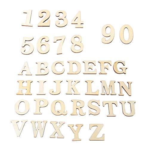 Iwinna Wooden DIY Selbstklebende Aufkleber Alphabet Letters Nummern Zubehör für Hochzeit Geburtstag Display - 124 Stück, inklusive Aufbewahrungsbox und Lowercase Buchstabe A-Z, Nummer 0-9