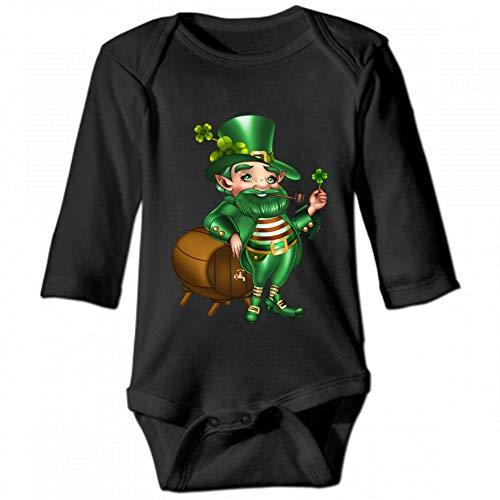 Cartoon Green Leprechaun Unisex Baby Round Neck Long Sleeve Bodysuit, Fashion Casual Baby Climbing Suit 6M