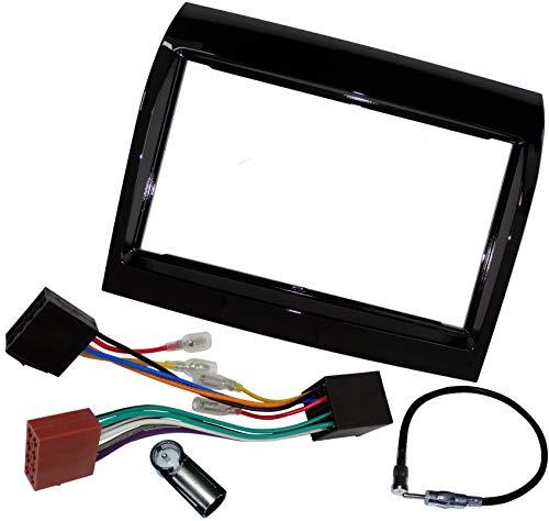 AERZETIX - Kit de Montaje de Radio de Coche estándar - 2DIN - Marco, Cable Enchufe y Adaptador de Antena - Negro Brillante - C11605A