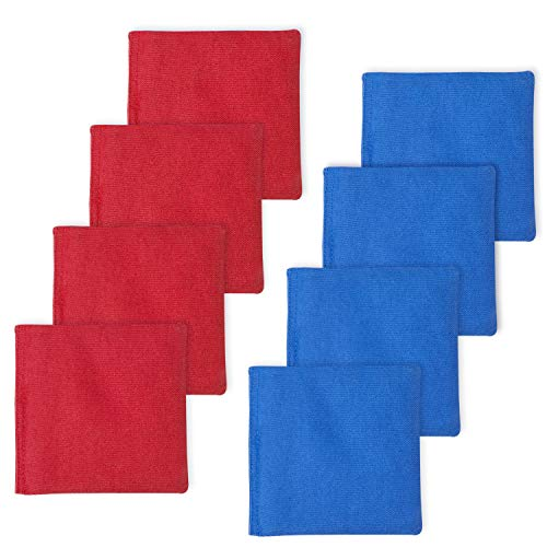 EXERCISE N PLAY Premium Weather Resistant Official Size ACA Regulation Duck Cloth Cornhole Bags(Set of 8) for Cornhole Bean Bags Toss Game,Red &Blue,Includes Shoulder Bag