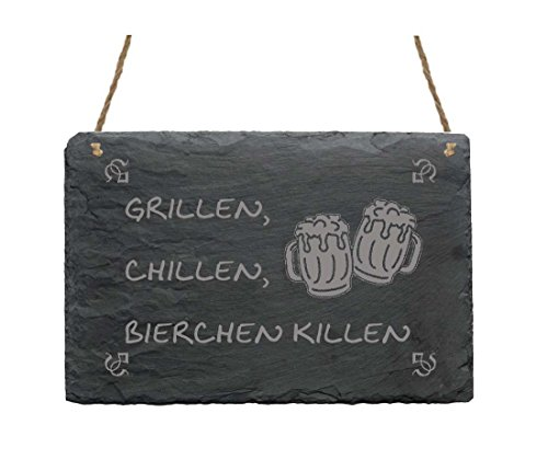 Schiefertafel « GRILLEN CHILLEN BIERCHEN KILLEN » Schild mit Motiv Biergläser - Türschild Deko Geschenk Herrentag - Bier Biergarten Garten Party Grillabend