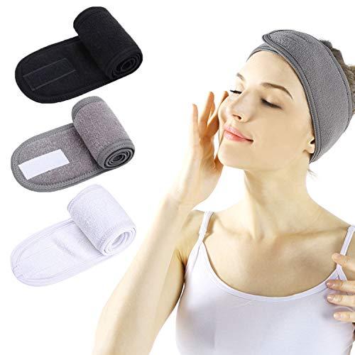Haarband für Make Up - 3 Stück Spa Stirnband mit Klettverschluss Kosmetik Stirnband Frottee Verstellbare Haarschutzband für Sport Yoga (Schwarz + Weiß + Grau)