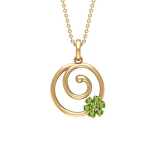 1/2 CT Peridot Pendant Necklace, Spiral Gold Necklace, Cluster Flower Pendant, 18K Yellow Gold Without Chain
