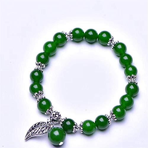 XIAOGING Pulsera de Cristal de Feng Shui para Mujeres Jade Pulsera Pulsera de Calcedonia Verde con Colgante de Hojas Pulsera elástica de Cuentas de Plata para Buena Suerte