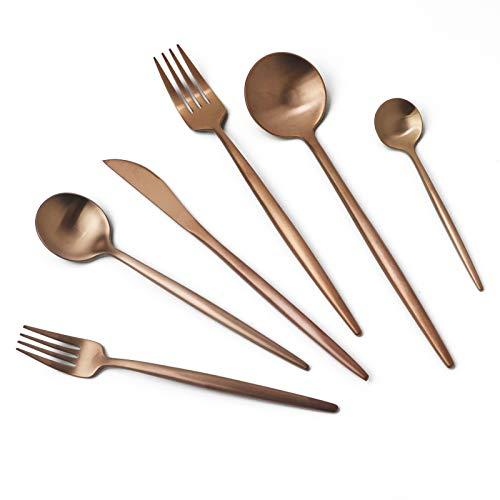 JASHII 18/10 Rose Gold Flatware Silverware Set 304 Stainless Steel Copper Flatware Cutlery Set| 24-Piece Adaline Royal Modern Satin Finish| BEST Birthday Wedding Gift (Rose Gold Matte 4 Sets)