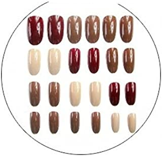 TBOP FAKE NAIL easy quick nail art polish set of 24pcs in Brown and Beige color