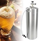Oyunngs Barril de Cerveza 10L, 304 de Acero Inoxidable Homebrew Brewing Keg Spear Tap Manómetro con tapón de Rosca