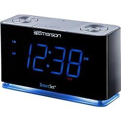 """Emerson Radio SMARTSET PLL Radio Alarm Clock with 1.4"""" Blue LED, Bluetooth Speaker and Night Light, CKS1507, Black"""