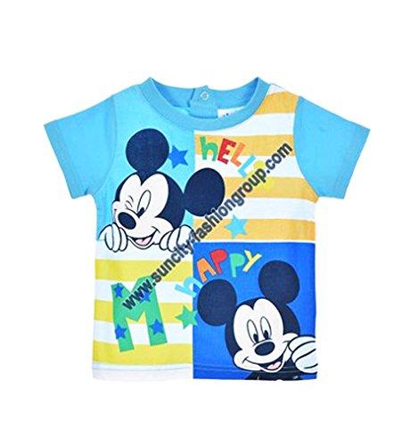 Tee shirt manches courtes bébé garçon Mickey Bleu et Orange 6 à 23mois (12 mois, Bleu)