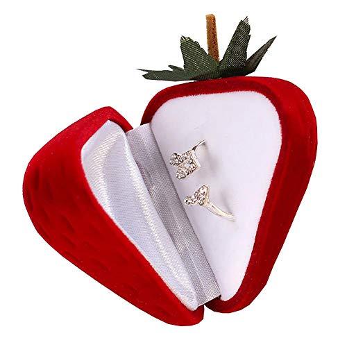 Cxssxling Joyero de viaje con fresa, portátil, caja de almacenamiento de joyas, delicado, anillo de caja de regalo creativo para anillos, pendientes, pulsera collar