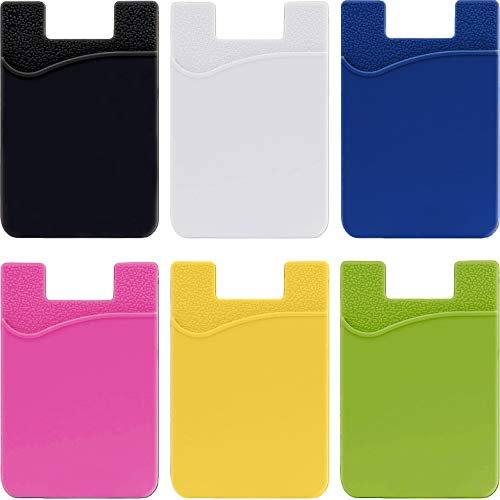 Phone Card Holder Stick On Wallet - Silicone Rubber Adhesive Back Pocket Credit Debit ID Money Case Pouch Sleeve Sticker - Compatible for iPhone Samsung Galaxy Android Smartphones - 6 Pack