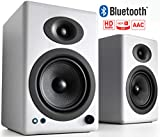 Audioengine A5+ Plus Wireless Speaker | Desktop Monitor Speakers | Home Music System aptX HD Bluetooth,150W Powered Bookshelf Stereo Speakers, AUX Audio, USB, RCA Inputs/Outputs, 24-bit DAC (White)