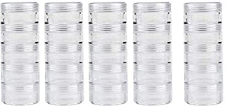 JDONOW 5 Layer cylinder Stackable Transparent Round PS Plastic Storage Container Box Super Clear Accessories Organizer Box for Beads Crafts Other Small Items 1.1in Round (5 Column Combination Sale)