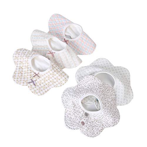 spier 5 baberos para bebé con rotación de 360 °, suaves baberos para bebé niña, antimanchas y resistentes al olor, baberos de algodón absorbentes