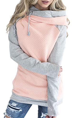 Socluer Kapuzenpulli Damen Hoodie Pullover Oversize Freizeit Elegant Sport Kapuzenpullover Pulli Sweatshirt Tops Oberteile(Pink L)