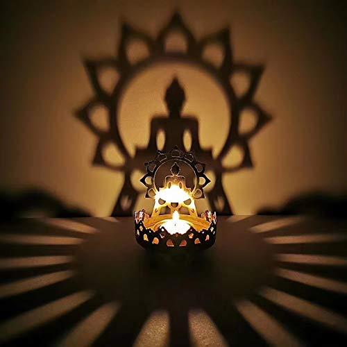 Fullnoon Titular de la lámpara del loto de la vela de la estatua del Buda del sostenedor de la lámpara del loto de la aleación hueco de la luz de la sombra Zen vela aceite titular de la lámpara