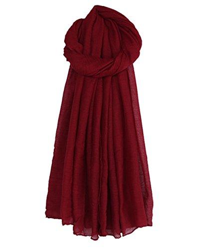 Cheerlife Damen Baumwolle Leinen Frühling Herbst Winter Schal Tuch Halstuch Einfarbig 180cm * 140CM Weinrot
