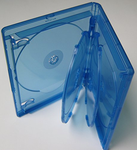 Kronenberg24 Profi Blu Ray Hüllen 6fach 15mm blau transparent - 10 Stück