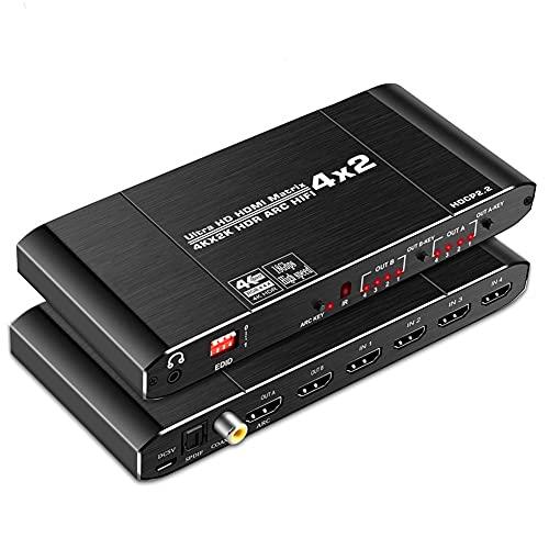 RSGK Matriz HDMI2.0 De 4 Entradas Y 2 Salidas, con Óptica Toslink SPDIF + Coaxial + Salida De Audio De 3,5 Mm, Separación De Audio De 4K60hz + ARC HDCP2.2 EDID