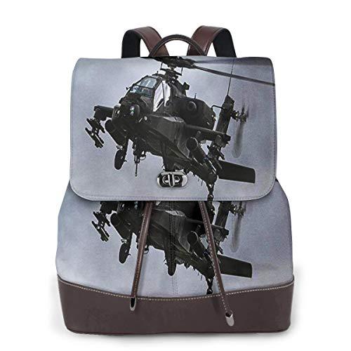 SGSKJ Rucksack Damen AH 64D Apache Kampfhubschrauber, Leder Rucksack Damen 13 Inch Laptop Rucksack Frauen Leder Schultasche Casual Daypack Schulrucksäcke Tasche Schulranzen