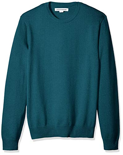 Amazon Essentials Men's Crewneck Sweater, Teal Heather, Small