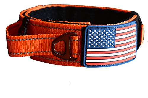 "Dog Collar With Control Handle Quick Release Metal Buckle Heavy Duty Military Style 2"" Width Nylon With USA Flag For Handling And Training Large Canine Male Or Female K9 (1505C-ORANGETAC)"
