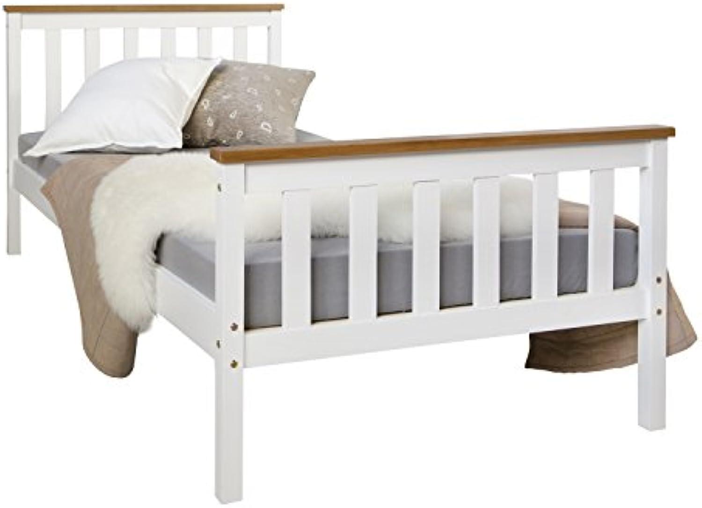 Homestyle4u 1842, Holzbett 90x200 cm wei, Bett mit Lattenrost, Kiefer Massivholz