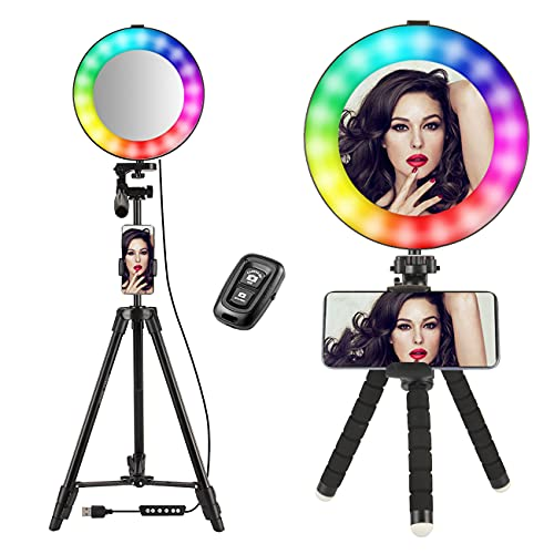 Ring Light with Tripod Stand Phone Holder Tiktok Selfie LED Live Lamp 20cm Makeup Daylight with Mirror/Remote Control Rainbow 14 RGB Colors Lighting Kit for Video Stream,Photography,Zoom Meeting,Vlog
