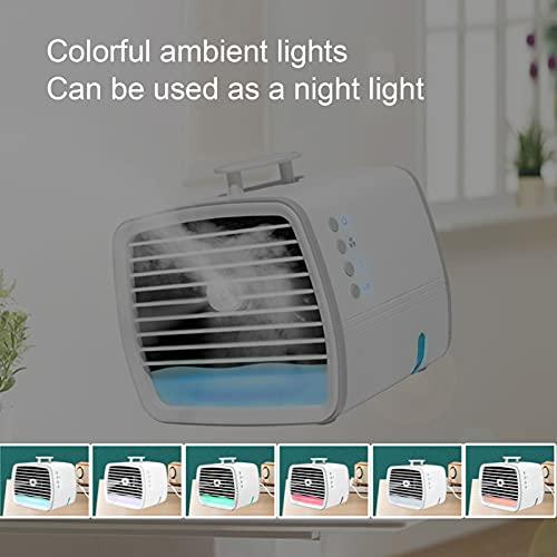 Clasken Aire Acondicionado pequeño, Funcionamiento silencioso de 3 velocidades Ventilador de Escritorio USB Personal 480ML para Dormitorio de Viaje al Aire Libre para Coche de Ministerio del