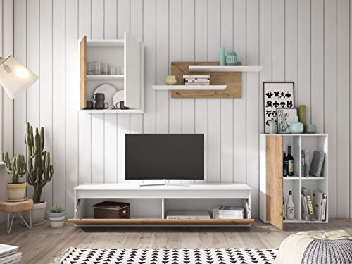 Miroytengo Mueble salón Comedor Legos 3 módulos 2 estanterías Color Blanco y Naturale Estilo Moderno 180x220x38 cm