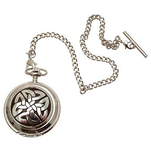Engraving included - Celtic knotwork pocket watch pewter fronted mechanical design 68