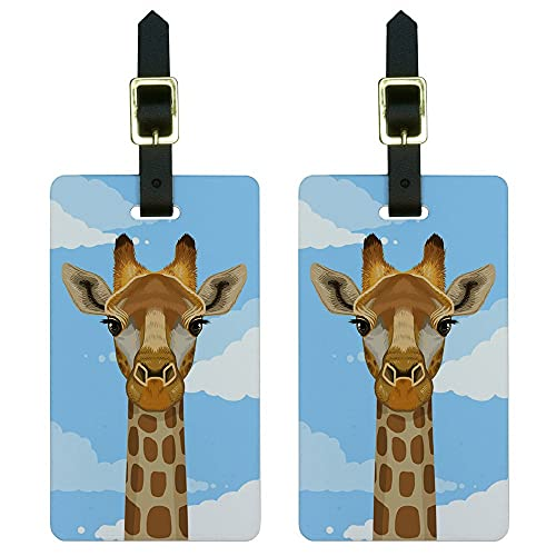 Graphics & More Jirafa en Sky-Safari - Etiquetas para equipaje de animales, color blanco