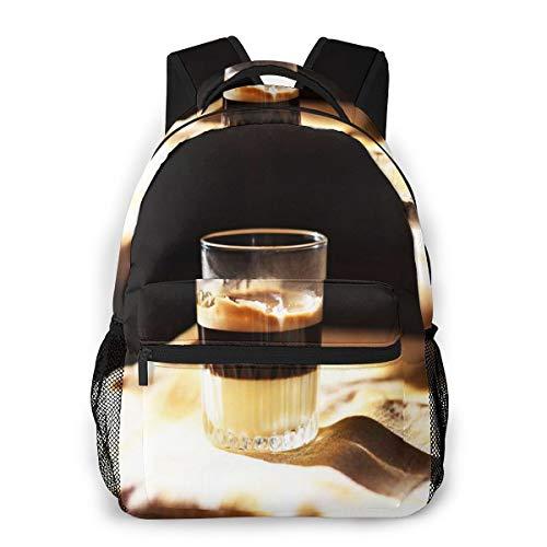 Laptop Rucksack Schulrucksack Kaffee Kondensmilch, 14 Zoll Reise Daypack Wasserdicht für Arbeit Business Schule Männer Frauen