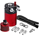 Universal Car Oil Catch Can Kit Reservoir Tank 300ml with Breather Aluminum Compact Dual Cylinder Polish Baffled Engine Air Oil Separator Tank Fit (Red)