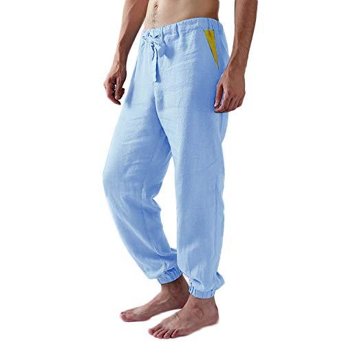 MakingDa Herren-Haremshose mit Taschen, Kordelzug, atmungsaktiv, bequem, für Yoga, Strand, Urlaub, Freizeit Gr. 58, blau