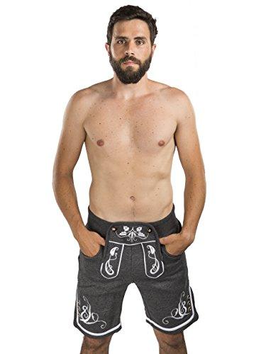 Herren Adam Jogging Lederhose - Jogginghose Sporthose Bestickt - Trachtenhose Oktoberfest - Schöneberger Fitness Trachtenlederhose (L, Dunkelgrau)