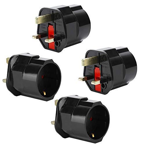 Intirilife 4X Steckdosen Adapter in SCHWARZ – 4er Set UK Typ G auf EU Schuko Steckdosen Stromadapter Reisestecker für z.B. UK, Irland, Singapur, Malaysia – Typ G Reiseadapter Netzstecker Converter