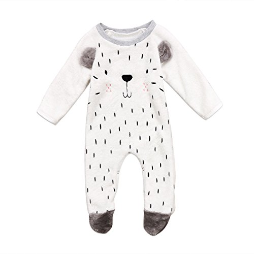 Glosun Toddler Baby Boy Girl Footed Pajamas Warm Fleece Jumpsuit Romper Outfits Winter Clothes (Gray, 6-12 Months)