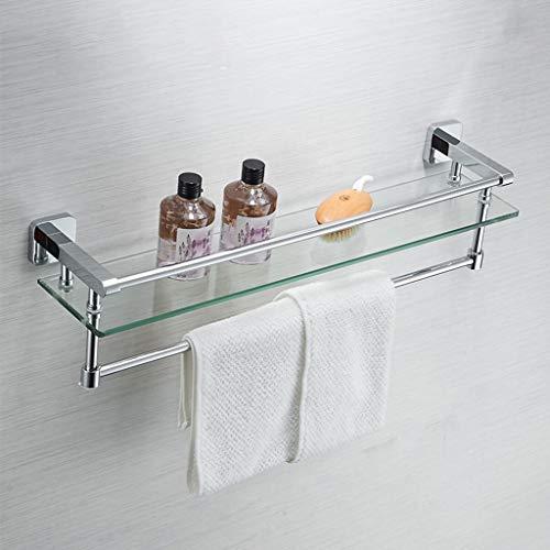 1 Nivel de Vidrio Flotante estantes para baño, Estante de Vidrio Templado montado en la Pared con Barra de Toalla, Todo el Soporte de Cobre Organizador de Vidrio Rack fácil de Instalar (Size : 50cm)