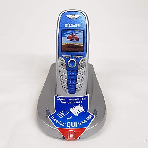 Telefono fisso cordless Aladino Slim 4, telefono domestico da casa con rubrica, vivavoce, lettore di schede sim per trasferire contatti (Blu)