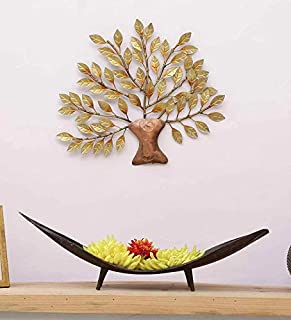 MICROTEX Mini Golden Color Tree for Your Home, Room, Wall décor (16X1X16 inch), Metal