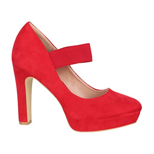 Elara Damen Pumps Riemchen High Heels Vintage Chunkyrayan E22500 Red-40