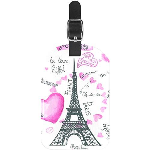 Etiquetas de Equipaje de la Torre Eiffel de París con corazón de Piel para Maleta de Viaje, 1 Paquete