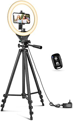 10 Ring Light with 50 Extendable Tripod Stand Sensyne LED Circle Lights with Phone Holder for product image