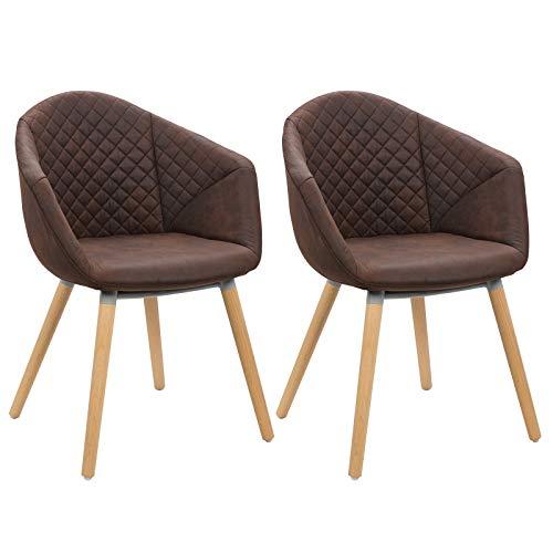 WOLTU BH89dbr-2 2er Set Esszimmerstühle Küchenstühle Wohnzimmerstuhl Polsterstuhl Design Stuhl Leinen in Antiklederoptik Massivholz Dunkelbraun